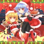 2girls absurdres alternate_costume bat_wings bell black_gloves black_legwear blonde_hair blue_hair bow bridal_gauntlets cake chicken_(food) christmas dress flandre_scarlet food gloves hat highres holding holding_plate looking_at_viewer m9kndi midriff multiple_girls plate pom_pom_(clothes) red_dress red_eyes red_skirt remilia_scarlet santa_costume santa_hat sitting skirt smile star thigh-highs tongue tongue_out touhou window wings zettai_ryouiki