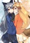 2girls animal_ears black_gloves black_skirt blazer blonde_hair blue_hair blush bow bowtie brown_eyes cowboy_shot ezo_red_fox_(kemono_friends) fox_ears fox_tail fur_trim gloves grey_hair hair_between_eyes hand_holding jacket kemono_friends long_hair long_sleeves looking_at_viewer multicolored_hair multiple_girls pantyhose pleated_skirt school_uniform signature silver_fox_(kemono_friends) skirt super_zombie tail twitter_username
