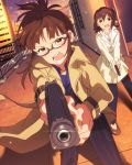 akizuki_ritsuko angry at_gunpoint brown_hair brown_jacket building city flats glasses gun handgun idolmaster idolmaster_million_live! jewelry jpeg_artifacts kasuga_mirai necklace official_art pink_shirt pistol pointing pointing_at_viewer shirt side_ponytail skyscraper weapon