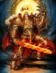 1boy aquila armor artist_name bird blade boots brown_hair cape claws eagle emperor_of_mankind epic fire flame flaming_sword gauntlets gem genzoman gloves gold gold_armor gothic greaves halo king knee_pads laurels long_hair male_focus manly mecha ornate pauldrons pelt power_armor power_suit realistic revision science_fiction scowl solo stairs standing sword warhammer_40k weapon wings wreath