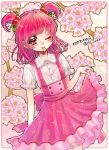 1girl aki_(na_uup) blouse character_name cherry cherry_print floral_background flower food food_print fruit hair_ornament highres mouth_hold one_eye_closed pink_hair pink_skirt precure print_skirt red_eyes short_hair short_twintails skirt skirt_hold smile solo twintails twitter_username white_blouse yes!_precure_5 yumehara_nozomi