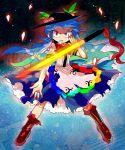 1girl blue_hair boots bow food fruit furukawa_(yomawari) hat hinanawi_tenshi long_hair no_nose peach red_eyes smile solo sword sword_of_hisou touhou weapon