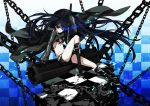 belt bikini_top black_hair black_rock_shooter black_rock_shooter_(character) blue_eyes boots chain gloves hoodie katana long_hair midriff navel osamu_(jagabata) scar shorts solo sword twintails uneven_twintails weapon