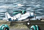 aircraft_carrier airplane catapult crossover drop_tank grumman_f4f hatsune_miku ikamusume military rxjx shinryaku!_ikamusume twintails us_navy vocaloid world_war_ii