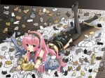 blue_eyes blush candy cat detached_sleeves fish headset highres long_hair lying megurine_luka nekobaka pink_hair rug skirt thighhighs too_many_cats tuna very_long_hair vocaloid