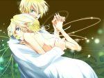 aqua_eyes blonde_hair dress kagamine_len kagamine_rin short_hair vocaloid