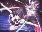 2girls apron blouse broom dress fan flying geta hat kirisame_marisa magic maki_(seventh_heaven_maxion) open_mouth outstretched_arm outstretched_arms red_eyes ribbon shameimaru_aya skirt smile stars tokin_hat touhou wings