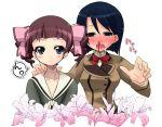 blood crossover maria-sama_ga_miteru maria_holic matsudaira_touko miyamae_kanako multiple_girls nosebleed shiwo take_it_home yuri