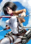 1girl black_hair breasts cable dual_wielding kai_(link2262) mikasa_ackerman pants serious shingeki_no_kyojin tagme