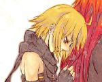 blonde_hair emil_castagnier lowres male multiple_boys red_eyes red_hair redhead richter_abend scarf tales_of_(series) tales_of_symphonia tales_of_symphonia_knight_of_ratatosk white_background yaoi