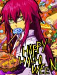 candy glasses green_eyes halloween lollipop male mouth_hold red_hair redhead richter_abend sweets swirl_lollipop tales_of_(series) tales_of_symphonia tales_of_symphonia_knight_of_ratatosk