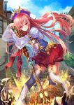1girl axe battle_axe blue_hat blue_sky brick clouds day full_body grey_legwear hat leaning looking_at_viewer original outdoors path pink_hair planted_weapon red_eyes red_skirt road shente_(sharkpunk) skirt sky solo standing thigh-highs weapon