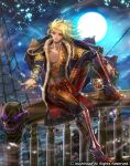 1boy abs blonde_hair boatswain_arman boots cardfight!!_vanguard company_name dark_skin dark_skinned_male drink full_body ghost jacket_on_shoulders jewelry long_hair male_focus moon moreshan nail_polish night night_sky official_art pointy_ears red_eyes ring shirtless sitting sky solo sparkle