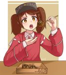 >:o 1girl :o artist_name brown_hair dress eating food hat highres jacy kantai_collection open_mouth red_dress ryuujou_(kantai_collection) solo sweat takoyaki twintails yellow_eyes