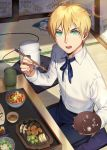 1boy ahoge blonde_hair carchet chopsticks eating fate/prototype fate_(series) food green_eyes looking_at_viewer male_focus plate saber_(fate/prototype) short_hair solo