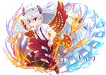 1girl ahoge arkfield bow brown_shoes cigarette collared_shirt fire fujiwara_no_mokou full_body hair_between_eyes hair_bow hand_in_pocket long_hair ofuda ofuda_on_clothes pants parody phoenix_wings ponytail puzzle_&_dragons red_eyes red_pants shirt shoes short_sleeves silver_hair smoking solo suspenders torn_clothes torn_sleeves touhou very_long_hair white_bow white_shirt wrist_cuffs