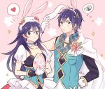 1boy 1girl :3 alternate_costume animal_ears animal_hood asymmetrical_clothes blue_hair blush bunny_hood dinikee easter_egg fake_animal_ears father_and_daughter fire_emblem fire_emblem:_kakusei fire_emblem_heroes gloves heart hood krom looking_at_viewer lucina open_collar rabbit_ears spoken_heart spoken_squiggle squiggle sweatdrop upper_body