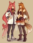 2girls animal_ears blazblue brown_hair cat_ears cat_tail crossover detached_sleeves final_fantasy final_fantasy_xiv full_body glasses highres holo kokonoe long_hair midriff multiple_girls multiple_tails pink_eyes pink_hair ponytail red_eyes reema_and signature simple_background spice_and_wolf standing tail thigh-highs wolf_ears wolf_tail