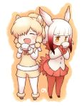 2girls ^_^ alpaca_ears alpaca_suri alpaca_tail bangs beige_boots beige_shorts beige_vest bird_tail bird_wings black_footwear black_shoes blonde_hair blunt_bangs blush boots buttons chibi closed_eyes collar crested_ibis_(kemono_friends) cup drinking expressionless eyebrows_visible_through_hair eyelashes frilled_sleeves frills full_body fur-trimmed_boots fur-trimmed_sleeves fur_collar fur_trim gloves gradient_hair gradient_ribbon hair_bun hair_ornament hair_over_one_eye hair_ribbon head_wings hitec holding holding_cup japari_symbol jitome kemono_friends long_sleeves mary_janes multicolored multicolored_background multicolored_hair multiple_girls neck_ribbon no_nose open_mouth orange_background pantyhose pleated_skirt red_gloves red_legwear red_ribbon red_skirt redhead ribbon shirt shoe_ribbon shoes short_hair short_hair_with_long_locks sidelocks simple_background skirt smile standing swept_bangs teacup tress_ribbon two-tone_background two-tone_hair vest white_background white_hair white_legwear white_ribbon white_shirt wide_sleeves wings yellow_eyes yellow_ribbon |d