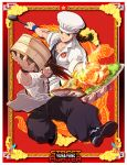 2boys alternate_costume apron baggy_pants bamboo_steamer braid brothers brown_hair character_name chef_hat chef_uniform copyright_name food hat ladle male_focus multiple_boys osanpogakari pants siblings single_braid solo_focus street_fighter street_fighter_iv_(series) twins waist_apron yang_lee yun_lee