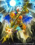 1boy armor armored_boots blue_hair boots cape cardfight!!_vanguard company_name flower full_body gloves green_eyes hair_flower hair_ornament hairclip knight_of_morning_shadow_kimarcus male_focus moreshan multicolored_hair official_art open_mouth polearm redhead rock solo spear sun teeth weapon white_hair