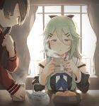 2girls aqua_hair backlighting bangs blowing_smoke blue_eyes blush bowl brown_hair closed_mouth cup curtains day detached_sleeves eyebrows_visible_through_hair food fruit fuu_fuu hair_between_eyes hair_ornament hairclip highres holding holding_tray indoors kantai_collection long_hair long_sleeves mandarin_orange mikuma_(kantai_collection) mug multiple_girls neckerchief school_uniform serafuku side_ponytail smile smoke teapot tray window yamakaze_(kantai_collection)