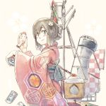1girl alternate_costume bird black_hair braid brown_eyes can checkered chicken cowboy_shot food funnel hair_ornament hair_ribbon hairclip honeycomb isonami_(kantai_collection) japanese_clothes kagami_mochi kantai_collection kimono long_hair machinery mochi nogiguchi_kohiro obi red_kimono ribbon sash sidelocks smile smokestack solo stand wagashi