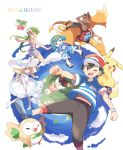 3boys 3girls alola_form alolan_vulpix baseball_cap black_hair blonde_hair blue_eyes blue_hair bounsweet braid capri_pants charizard dark_skin dark_skinned_male dress flower from_behind green_eyes green_hair hair_flower hair_ornament hairband hat highres kaki_(pokemon) lillie_(pokemon) long_hair maamane_(pokemon) mao_(pokemon) mei_(maysroom) multicolored_hair multiple_boys multiple_girls one_eye_closed open_mouth orange_hair overalls pants pikachu pokemon pokemon_(anime) pokemon_(creature) pokemon_sm_(anime) popplio red_hat red_shorts redhead riding rowlet sandals satoshi_(pokemon) shirt short_hair short_sleeves shorts sleeveless sleeveless_dress striped striped_shirt suiren_(pokemon) sun_hat togedemaru trial_captain twin_braids white_dress white_hat z-ring