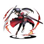 1girl ankle_ribbon black_hair black_pants divine_gate dress earrings eyebrows_visible_through_hair full_body hair_ornament holding holding_sword holding_weapon jewelry long_hair looking_at_viewer official_art pants pants_under_dress red_dress red_eyes red_ribbon ribbon sheath sheathed smile solo sword transparent_background ucmm unsheathed weapon