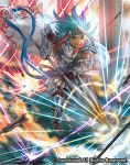 1boy armor armored_boots arrow blue_hair boots cape cardfight!!_vanguard company_name dark_skin dark_skinned_male electricity full_body gloves green_eyes headband knight_of_honesty_carausius long_hair male_focus moreshan multicolored_hair official_art open_mouth redhead solo teeth two-tone_hair