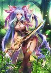 1girl adjusting_hair animal_ears bracelet brown_legwear fantasy forest fox_ears garter_belt gem hair_ribbon holding holding_sword holding_weapon jewelry light_blue_hair long_hair looking_at_viewer nature original purple_ribbon red_eyes ribbon shente_(sharkpunk) solo standing sword thigh-highs twintails very_long_hair weapon
