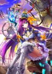 1girl armor blue_eyes blue_hat bow clock clock_tower clouds crown frilled_sleeves frills full_body greaves hair_bow hat highres indoors long_hair looking_at_viewer original purple_hair shards shente_(sharkpunk) silver_boots silver_legwear sitting solo sunset tower very_long_hair wand