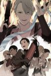 6+boys black_hair blonde_hair blue_eyes bodysuit brown_eyes cellphone christophe_giacometti dark_skin dark_skinned_male fire fire_extinguisher grey_eyes hair_over_one_eye katsuki_yuuri male_focus multiple_boys necktie necktie_removed open_mouth otabek_altin phichit_chulanont phone silver_hair smartphone smile viktor_nikiforov yukino_hai yuri!!!_on_ice yuri_plisetsky