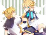 2boys blonde_hair blue_eyes boots detached_sleeves kagamine_len looking_at_each_other necktie selfcest short_hair shorts tagme vocaloid yaoi