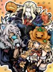 1girl 2boys animal_ears beard blonde_hair blue_eyes braid cape dark_skin earhart facial_hair fate/apocrypha fate_(series) green_eyes halloween hat highres jack-o'-lantern lancer_of_black long_hair looking_at_viewer multiple_boys open_mouth ponytai pumpkin_hat ruler_(fate/apocrypha) saber_of_black short_hair simple_background single_braid smile white_hair witch_hat