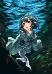 1girl absurdres blue_eyes blue_hair bubble diving head_fins highres japanese_clothes kimono long_sleeves looking_away mermaid monster_girl open_mouth pyonsuke_(pyon2_mfg) short_hair solo touhou underwater wakasagihime water wide_sleeves