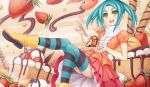 1girl ankle_boots aqua_hair aqua_legwear blush boots cake flat_chest food fruit green_eyes highres leg_lift long_hair looking_at_viewer monogatari_(series) nisemonogatari ononoki_yotsugi open_mouth rubber_boots solo spoon strawberry striped striped_legwear sunimu thick_eyebrows thigh-highs twintails