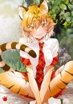 1girl :3 animal_ears animal_print ankle_boots artist_name blush boots breast_pocket breasts cat_ears cat_tail collar collared_shirt dot_nose eyebrows eyebrows_visible_through_hair eyelashes fly_333 gradient_hair ground hair_between_eyes highres indian_style jpeg_artifacts kemono_friends large_breasts lips looking_at_viewer multicolored_hair necktie orange_hair outdoors own_hands_together plaid plaid_necktie plaid_skirt plant pleated_skirt pocket red_necktie red_skirt rock shiny shiny_clothes shiny_hair shiny_skin shirt short_hair sitting skirt smile solo striped_tail tail thigh-highs tiger_(kemono_friends) tiger_ears tiger_print tiger_tail tsurime two-tone_hair white_boots white_footwear white_shirt wing_collar yellow_eyes zettai_ryouiki