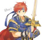 1boy armor blue_eyes fire_emblem fire_emblem:_fuuin_no_tsurugi headband holding holding_sword holding_weapon looking_at_viewer redhead shourou_kanna smile sword weapon