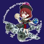 1girl aircraft airplane black_shirt chains clothes_writing earth_(ornament) gold_chain hecatia_lapislazuli messerschmitt_bf110g-4 moon_(ornament) multicolored multicolored_clothes multicolored_skirt neck_ruff off-shoulder_shirt open_mouth plaid plaid_skirt polos_crown purple_background radar red_eyes redhead sakurato_tsuguhi shirt short_hair skirt solo swastika t-shirt text touhou