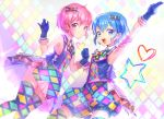 1boy 1girl a_k_o arm_up armpits bare_shoulders blue_eyes blue_hair blush bow brother_and_sister checkered checkered_legwear dorothy_west dress gloves hair_bow hands_together highres leona_west looking_at_viewer mole mole_under_eye open_mouth pink_eyes pink_hair pripara revision short_hair siblings sleeveless smile thigh-highs trap twins