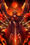 1girl armor armored_boots bangs black_hair black_wings blurry blush boots chains cloak closed_mouth copyright_name demon_archer depth_of_field fate/grand_order fate_(series) feathered_wings floating_hair gun hair_between_eyes hat highres holding holding_sword holding_weapon koha-ace legs_apart long_hair looking_at_viewer military military_uniform musket peaked_cap planted_sword planted_weapon red_eyes rising_sun smile smug solo standing sunburst sword uniform weapon wings yuxx_yux