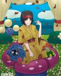 1girl artist_name bellossom black_hair breasts brown_eyes deviantart_username erika_(pokemon) falkeart flower hairband japanese_clothes kimono long_sleeves one_eye_closed plant pokemon pokemon_(creature) pokemon_(game) pokemon_hgss red_hairband short_hair smile solo vileplume wide_sleeves yellow_kimono