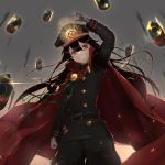 1girl arm_up bangs belt black_hair black_pants black_shirt cape cowboy_shot demon_archer fate/grand_order fate_(series) gloves grin gun hat koha-ace long_hair long_sleeves looking_at_viewer military military_hat military_uniform pants peaked_cap pointing pointing_at_viewer red_eyes rerubixi shirt smile solo uniform weapon white_gloves