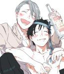 2boys ^_^ black_hair blush bottle closed_eyes collared_shirt drunk fuji_(c-b-s) katsuki_yuuri male_focus multiple_boys necktie necktie_on_head open_mouth shirt silver_hair sitting smile viktor_nikiforov yuri!!!_on_ice