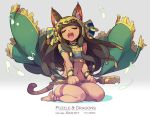 1girl :d animal_ears anklet armlet barefoot bastet_(p&d) black_hair cat_ears cat_tail closed_eyes crotchet dark_skin eyelashes fang floating_hair highres jewelry long_hair midriff music musical_note navel open_mouth puzzle_&_dragons quaver revision seiza singing sistrum sitting smile solo strapless tail tennohi thigh_strap tubetop wind wind_lift
