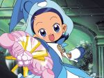 1girl arms_out blue_eyes blue_hair dress earrings gloves hat looking_at_viewer ojamajo_doremi open_mouth senoo_aiko sharp solo tagme wand