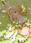 1girl ;< animal_ears ankle_boots bare_shoulders black_ribbon blush body_blush boots bow bowtie clenched_hands dappled_sunlight day dot_nose elbow_gloves eyebrows_visible_through_hair full_body gloves grass kemono_friends light_brown_eyes looking_at_viewer lying muu_rian on_side one_eye_closed orange_hair outdoors raised_eyebrow ribbon rubbing_eyes serval_(kemono_friends) serval_ears serval_print serval_tail shadow shiny shiny_hair shiny_skin shirt shoe_ribbon shoe_soles short_hair skirt sleepy sleeveless sleeveless_shirt solo striped_tail sunlight tail tareme thigh-highs twitter_username white_boots white_footwear white_shirt