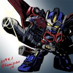 1boy 2017 artist_name autobot cannon commentary_request fighting_stance glowing gun headgear holding holding_weapon huge_weapon insignia kamizono_(spookyhouse) machine machinery mecha mechanical_wings no_humans optimus_prime personification robot solo transformers transformers_cybertron twitter_username weapon wheels wings yellow_eyes