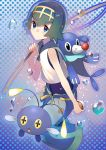 1girl blue_eyes blush chinchou fishing_rod from_side full_body fuotchan green_hair hand_up highres holding holding_poke_ball looking_at_viewer parted_lips poke_ball pokemon pokemon_(game) pokemon_sm polka_dot polka_dot_background popplio sailor_collar short_hair solo suiren_(pokemon)
